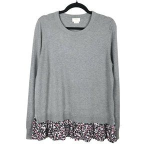 Kate Spade Live Colorfully Gray Floral Sweater